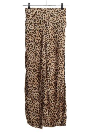 Zara High-Waist Hose creme-braun Allover-Druck Elegant