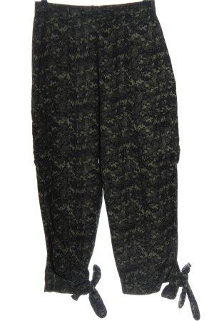 Zara High-Waist Hose schwarz-khaki abstraktes Muster Casual-Look