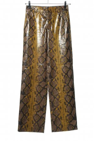 Zara Spodnie z wysokim stanem brązowy-bladożółty Na całej powierzchni
