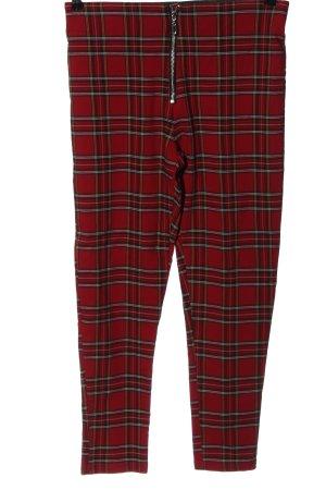 Zara Spodnie z wysokim stanem czerwony-czarny Wzór w kratkę W stylu casual