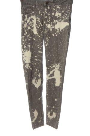 Zara High-Waist Hose hellgrau-weiß abstraktes Muster Casual-Look