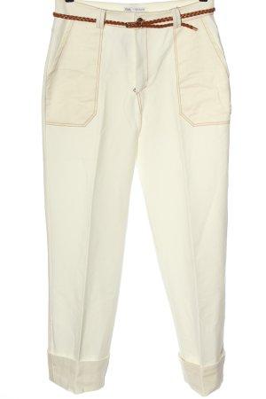 Zara Spodnie z wysokim stanem w kolorze białej wełny W stylu casual