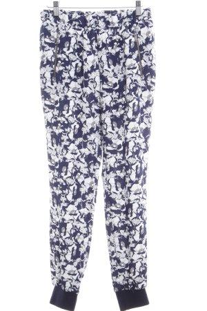 Zara High-Waist Hose dunkelblau-weiß