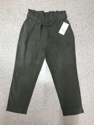 Zara High Waist Hose Stoffhose mit breiten Gürtel khaki M❣️