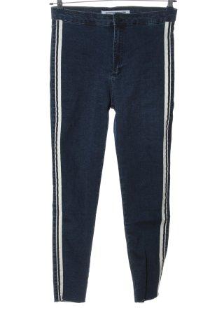 Zara High Waist Jeans blau-wollweiß Streifenmuster Casual-Look