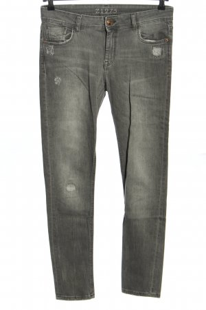 Zara High Waist Jeans hellgrau Casual-Look