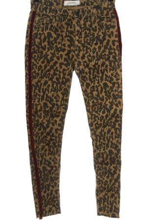 Zara High Waist Jeans braun-schwarz Allover-Druck Casual-Look