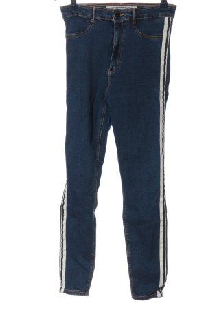 Zara High Waist Jeans blau-weiß Casual-Look