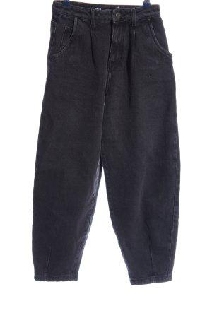 Zara High Waist Jeans schwarz meliert Casual-Look