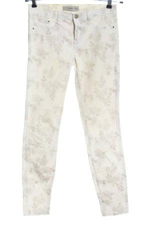Zara High Waist Jeans wollweiß-hellgrau Allover-Druck Casual-Look