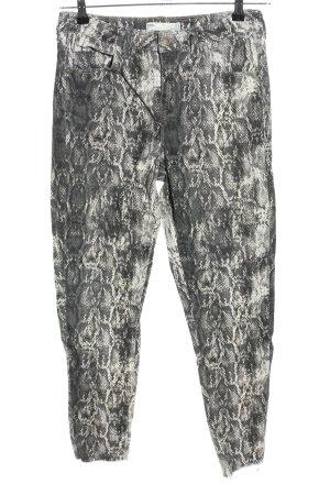 Zara High Waist Jeans hellgrau-weiß Allover-Druck extravaganter Stil