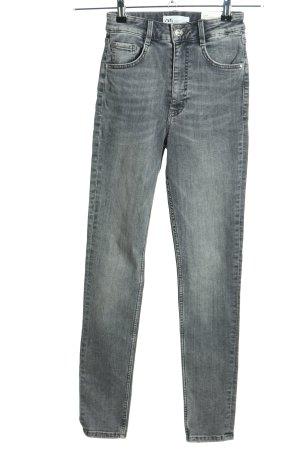 Zara High Waist Jeans hellgrau meliert Casual-Look