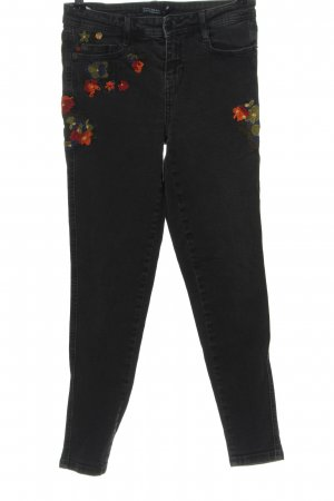 Zara High Waist Jeans schwarz Blumenmuster Casual-Look