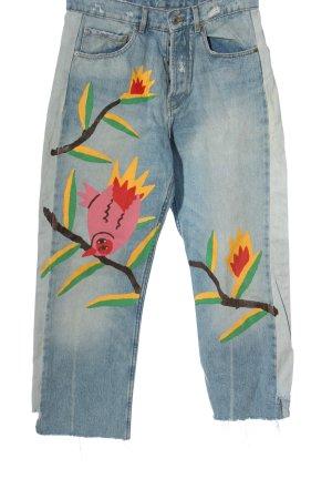 Zara High Waist Jeans blau-hellorange Motivdruck extravaganter Stil