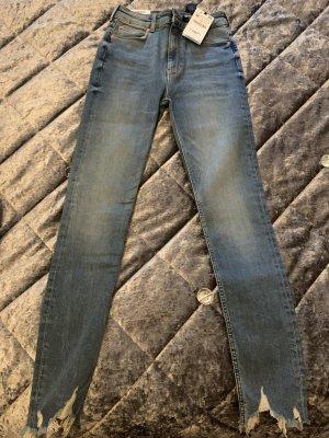 Zara Jeansy z wysokim stanem niebieski