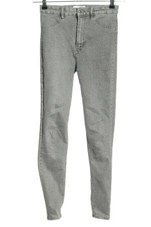 Zara High Waist Jeans hellgrau Casual-Look