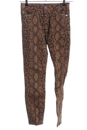 Zara High Waist Jeans braun-schwarz Animalmuster extravaganter Stil