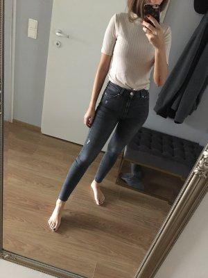 Zara High Waist Jeans Mittelgrau XS