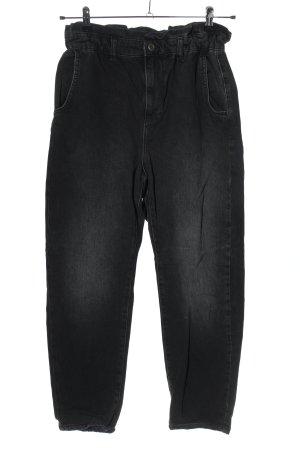 Zara High Waist Jeans schwarz-hellgrau Casual-Look