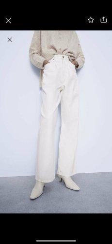 Zara high waist jeans weit weiß
