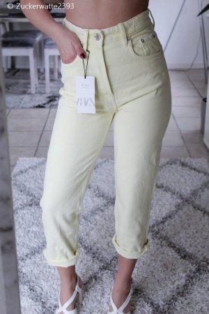 Zara High Waist Jeans zartgelb Gr 36
