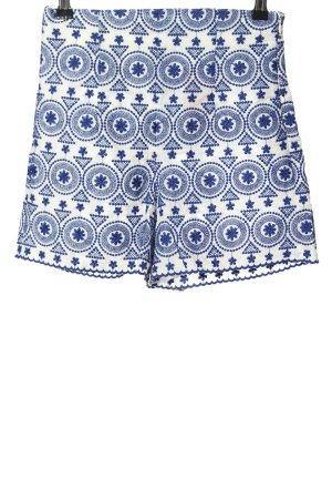 Zara High-Waist-Shorts weiß-blau grafisches Muster Casual-Look