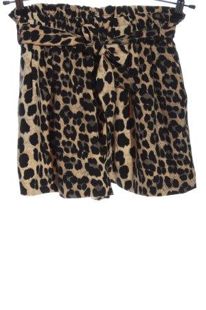 Zara High-Waist-Shorts braun-schwarz Animalmuster Elegant