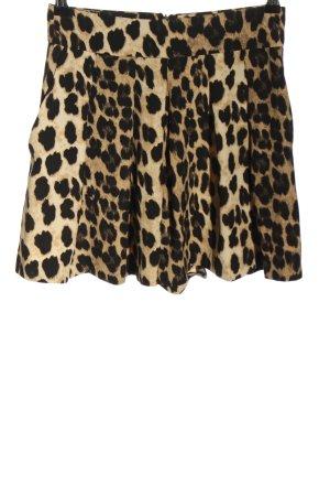 Zara High-Waist-Shorts creme-schwarz Animalmuster Casual-Look