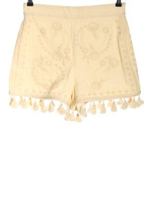 Zara High-Waist-Shorts creme-nude Blumenmuster Casual-Look