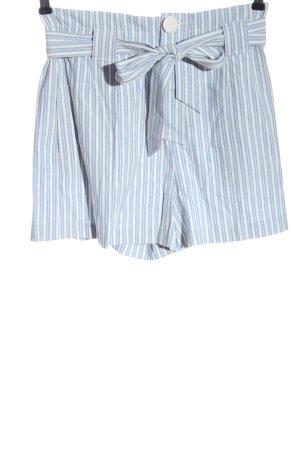 Zara Szorty z wysokim stanem biały-niebieski Wzór w paski W stylu casual