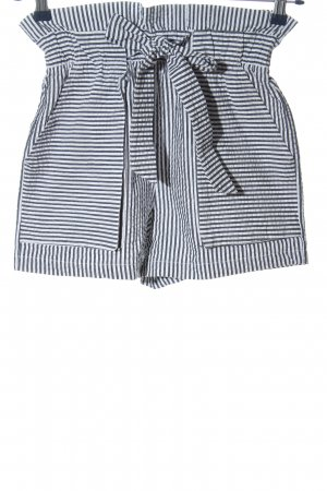 Zara Szorty z wysokim stanem biały-czarny Wzór w paski W stylu casual