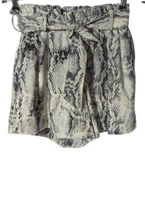 Zara High-Waist-Shorts hellgrau-creme Animalmuster Casual-Look