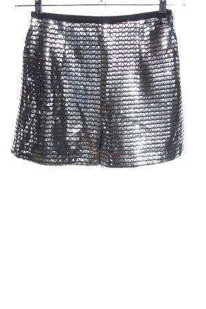 Zara High-Waist-Shorts silberfarben Glitzer-Optik