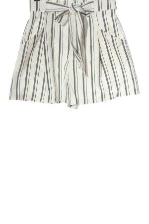 Zara Pantalón corto de talle alto blanco-negro estampado a rayas look casual
