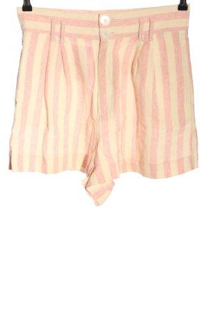 Zara Short taille haute rose-crème motif rayé style décontracté