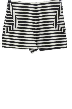 Zara High-Waist-Shorts weiß-schwarz Streifenmuster Casual-Look