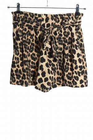 Zara High-Waist-Shorts wollweiß-braun Leomuster Casual-Look