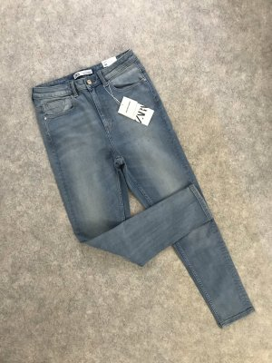 Zara High Waist Jeans azure-blue