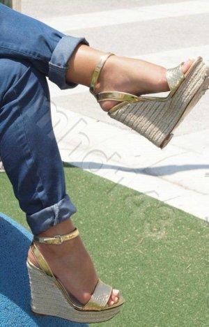 Zara Highheel Wedges in gold metallic