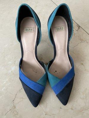 Zara - Highheels 38 Blau-schwarz-grün 3-farbig
