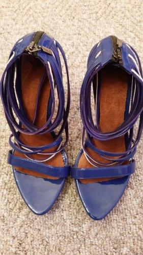 Zara Highheels in blau/weiss mit vielen Riemchen