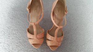 Zara T-Strap Sandals nude-dusky pink leather