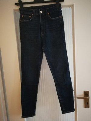 Zara Jeans a vita alta blu scuro-grigio chiaro