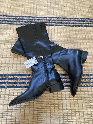 Zara hohe Echtleder Stiefel mit Blockabsatz
