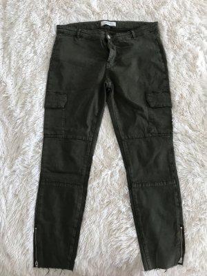 Zara Woman Pantalón de color caqui gris verdoso