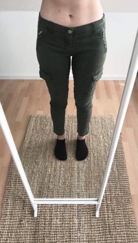 Zara Spodnie khaki zielono-szary-khaki