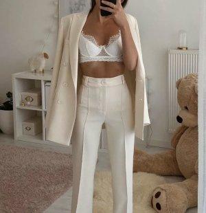 Zara hose beige lang M Creme ausverkauft ziernaht