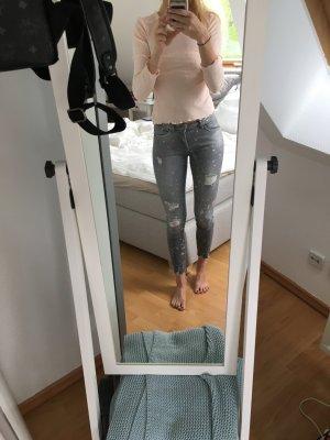 Zara pantalón de cintura baja gris-gris claro