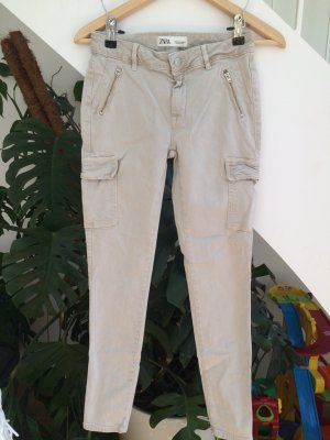 Zara Pantalon kaki beige clair coton