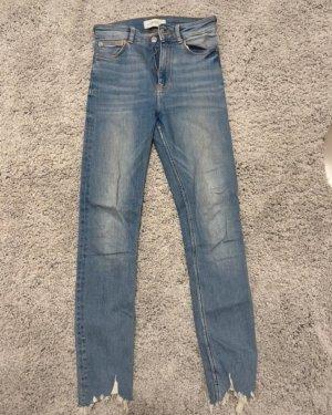 Zara Pantalon taille haute bleu